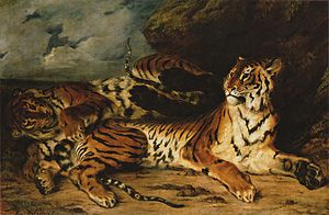 Delacroix Young Tiger Playing with its Mother